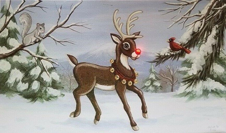 led light up reindeer lighted canvas picture