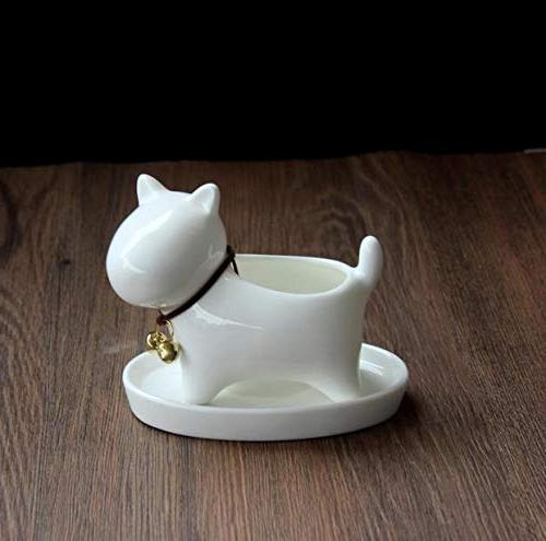 wish have a nice Little Dog White Ceramic Pots Planter,Milky Tray.