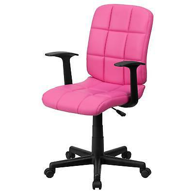 mid back pink quilted vinyl swivel task