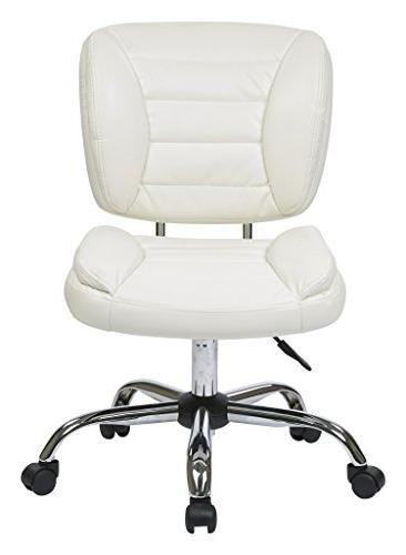 Mid-Back Task Chair with Chrome Accents, White