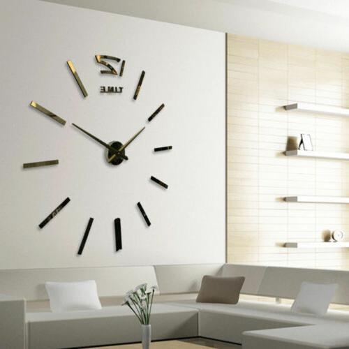 Modern Large 3D Mirror Surface Wall Clock Sticker Home Offic