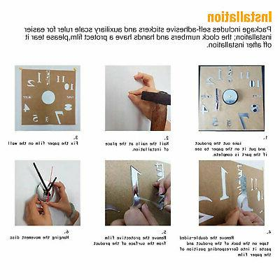 New DIY Wall Clock Mirror Surface Sticker Home Office Room