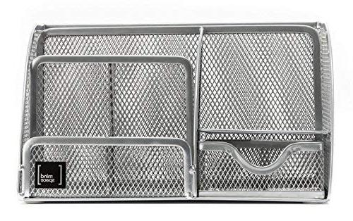 with 6 Compartments + Drawer Pencil Holder Mesh Collection, Silver