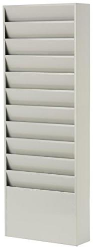 Displays2go Office File Folder Wall Rack with 11 Tiered Pock