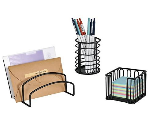 PAG 5 in 1 Metal Organizer File File Tray, Letter Sorter, Pencil and Note