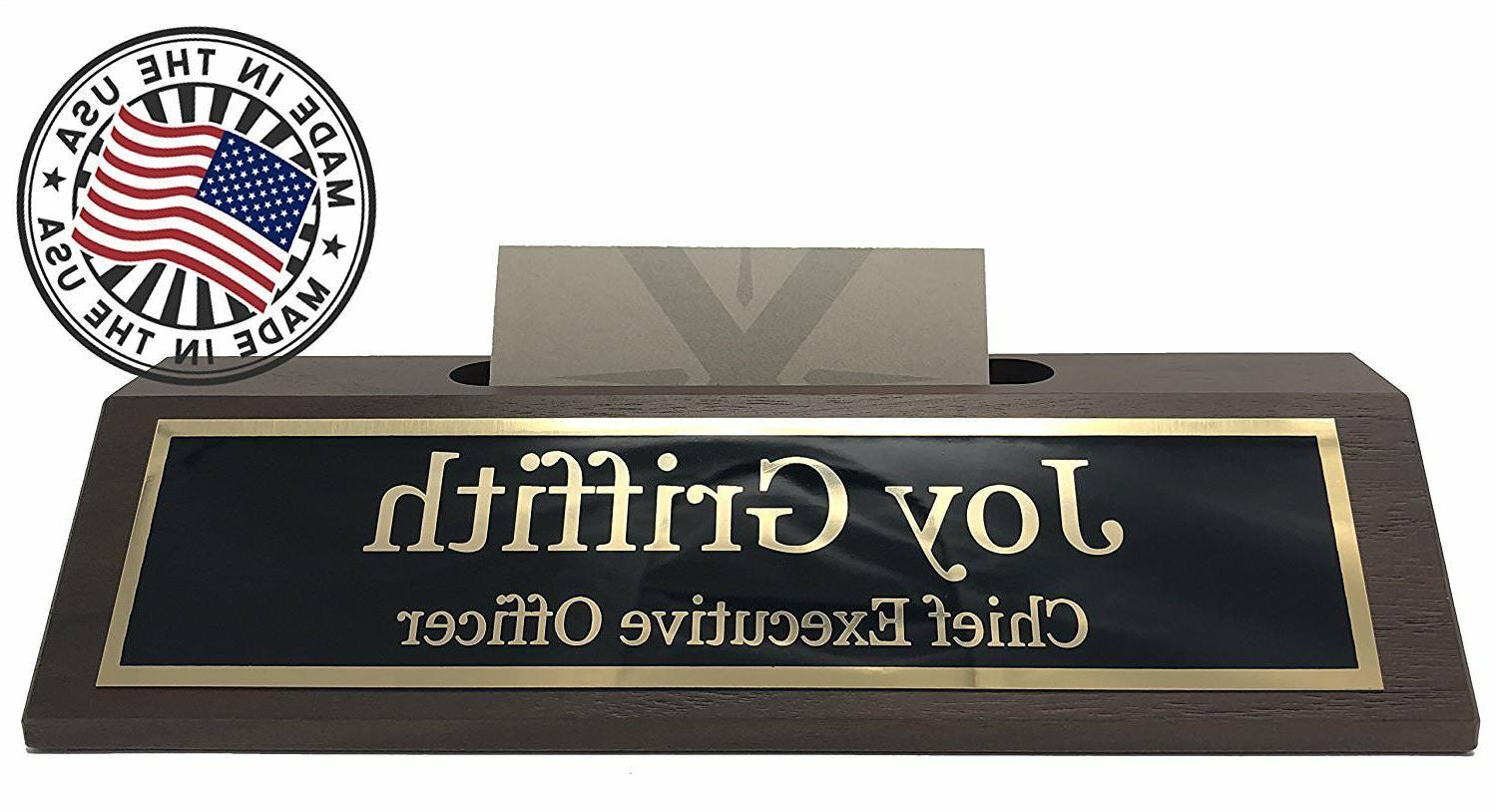 Personalized Business Desk Plate with Card Made in USA Wood