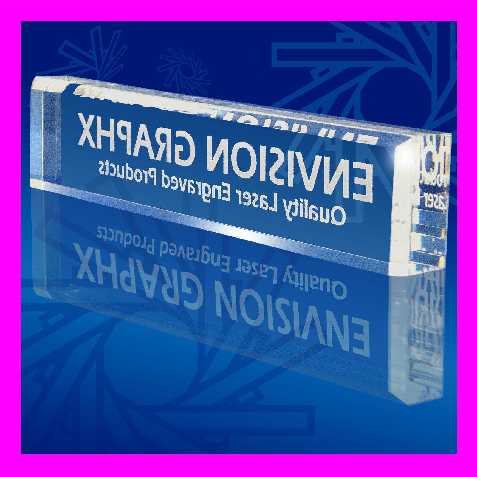 personalized custom engraved clear acrylic desk name