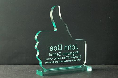 """Personalized Emoji Award/Office Desk Name Plate - Recognition, Achievement Trophy facebook 3/8"""" Acrylic customized"""