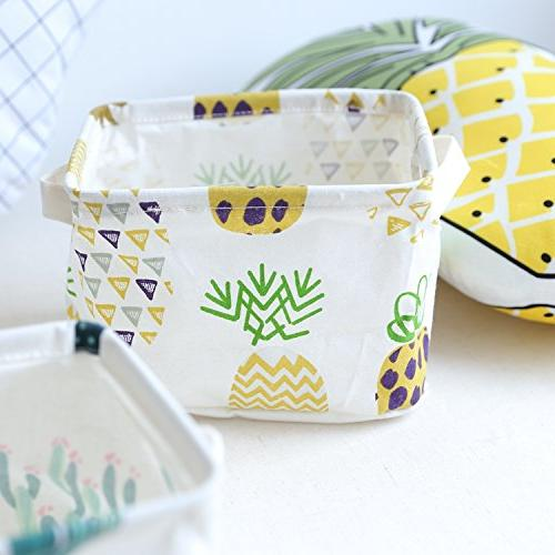 Orino Pineapple Summer Storage Bins Size Collapsible Storage Baskets Home Toys, Books, Sundries, of