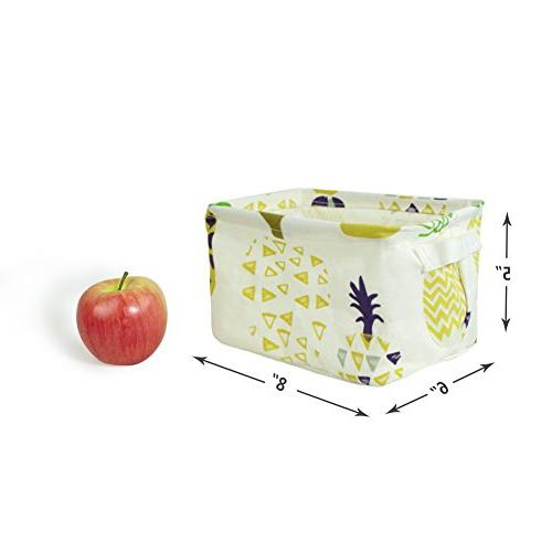 Orino Pineapple Summer Storage Collapsible Storage Baskets Organizers Home for Toys, of 3