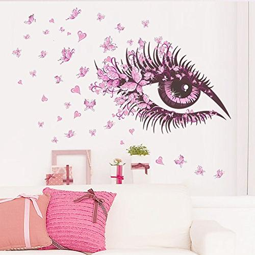 pink eyes flying butterfly wall
