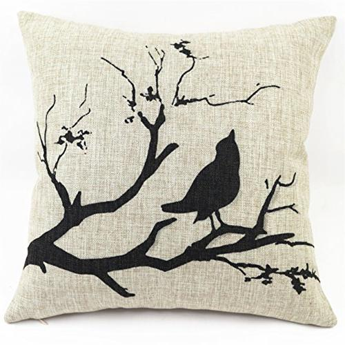 polyester cotton black bird tree