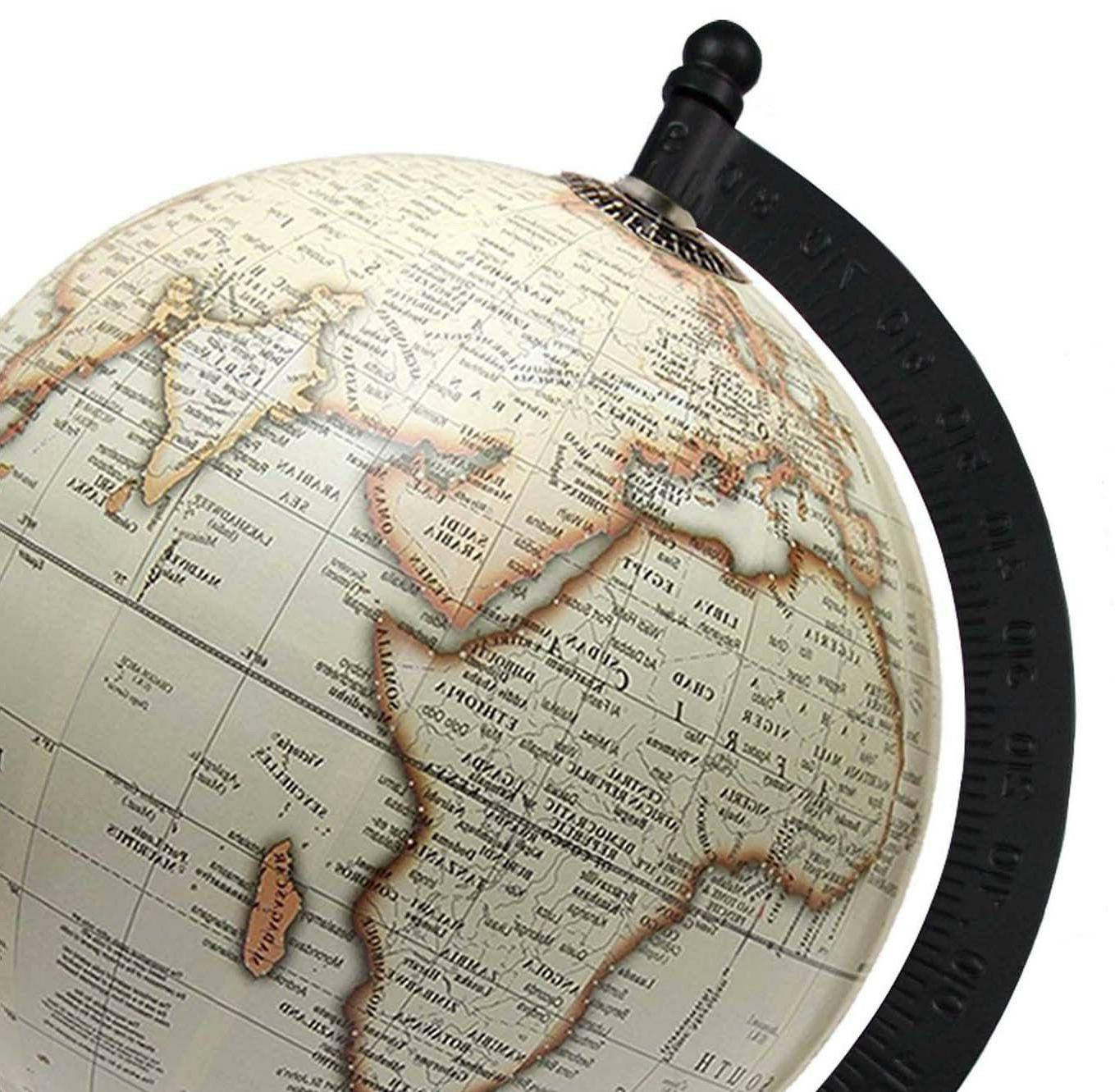 Rotating Globe 5'' Off-white Geographical Home Decor