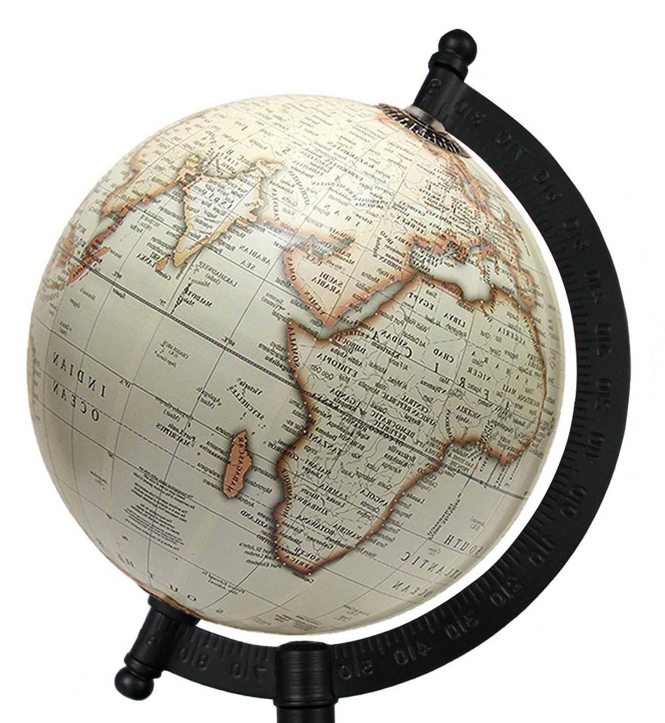 Rotating Globe inch Off-white Antique Geographical World