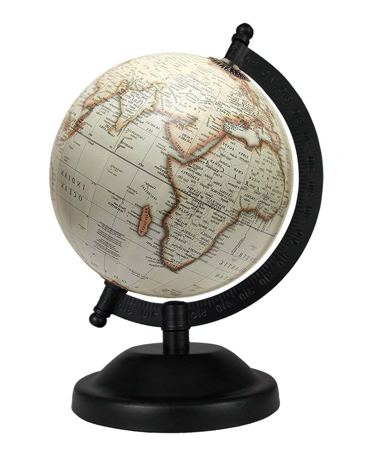 rotating globe 5 inch off white antique
