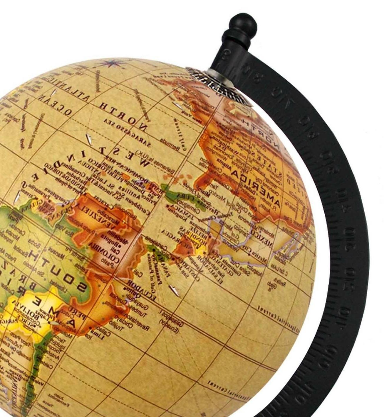 Rotating Globe Yellow Antique Geographical Home Office