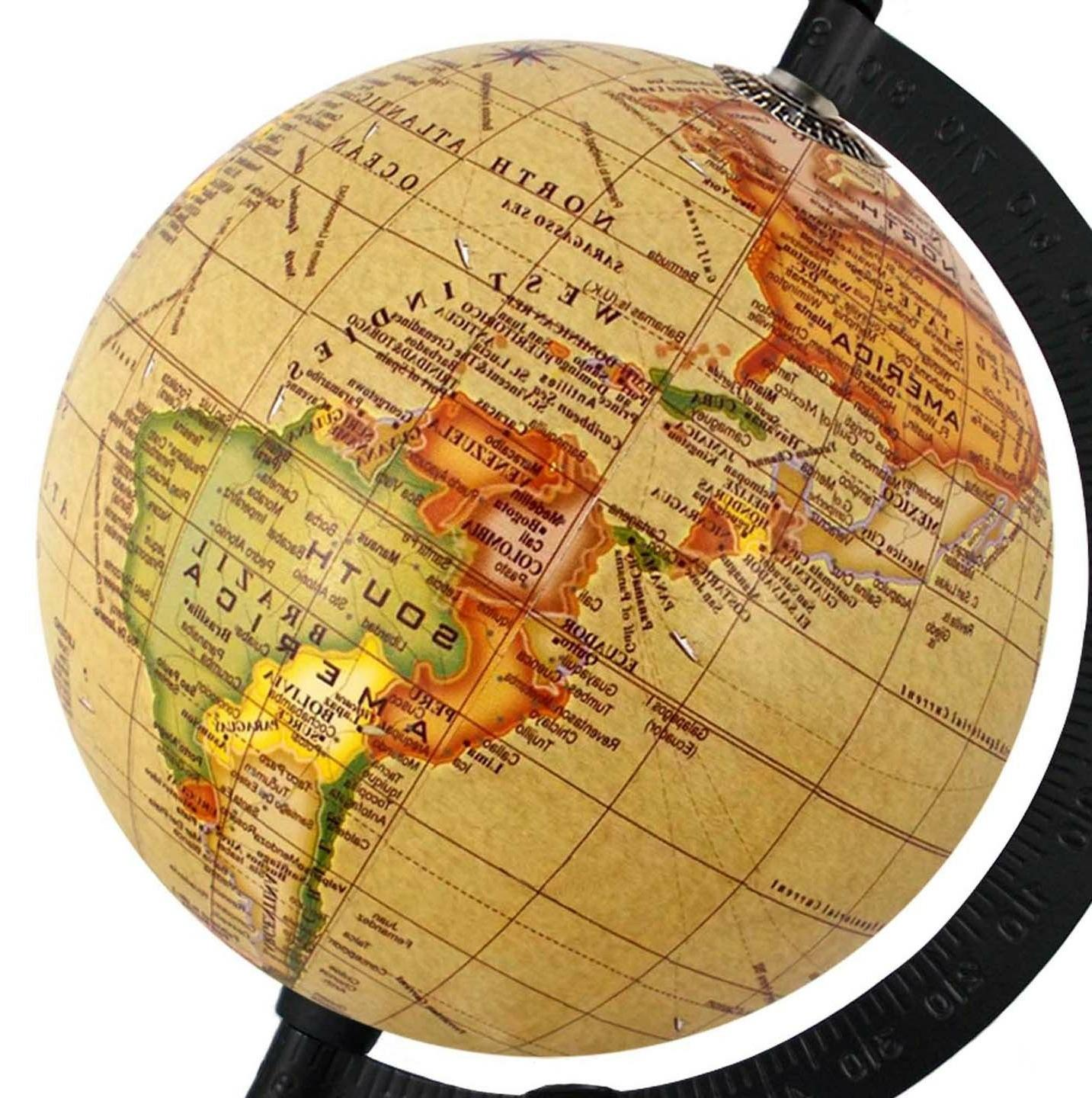 Rotating Globe inch Yellow Antique Home