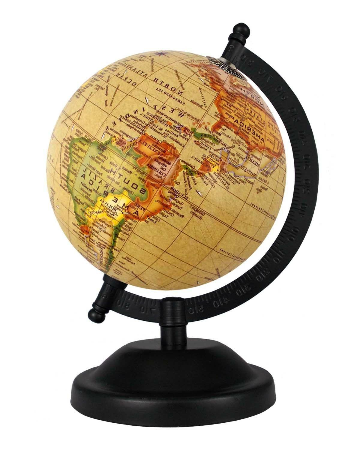 rotating globe 5 inch yellow antique geographical