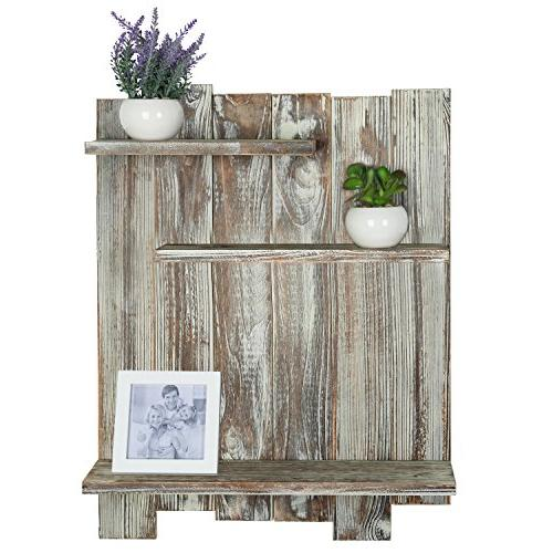 MyGift Torched Wood Pallet-Style Mounted 3-Tier Decorative Shelf