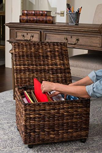 BIRDROCK HOME Seagrass File Cabinet Storage | Home Office Decor | Abaca