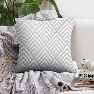Silver Grey Geometric Cushion Cover Pillow Office Case Home