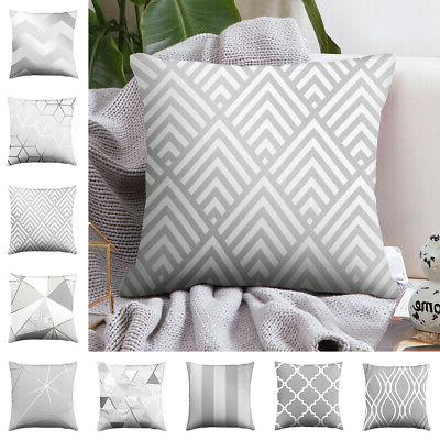 silver grey geometric cushion cover pillows office