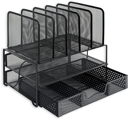 SimpleHouseware with Sliding Tray and 5 Upright Sections,