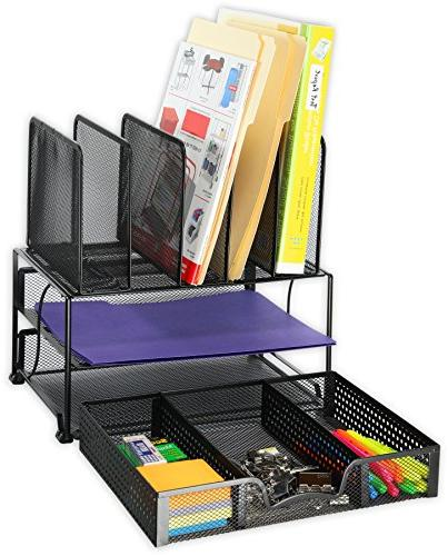 SimpleHouseware Desk Organizer with Tray Sections, Black