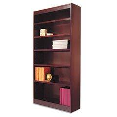 -- Square Corner Wood Veneer Bookcase, 6-Shelf, 35 5/8w x 11