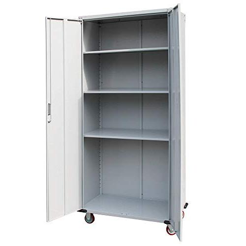 "Bonnlo 70"" Rolling Garage Storage Cabinet Door Steel Kitchen Duty Kitchen, Bathroom, Office"