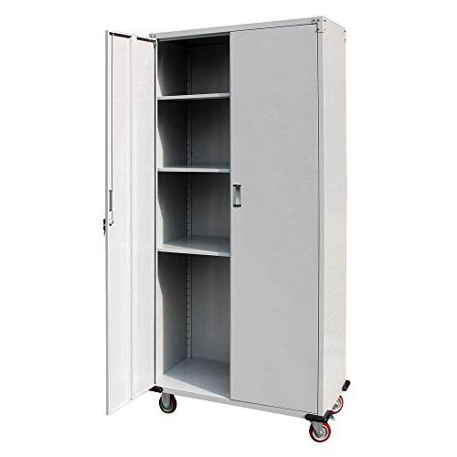 Bonnlo Garage Cabinet Door Steel Pantry Heavy Duty Corner Cabinet for Kitchen, Laundry Office
