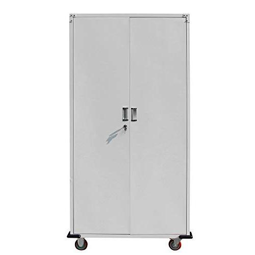 "Bonnlo 70"" Door Storage Locker Stainless Steel Kitchen Duty Corner Cabinet Kitchen, Room, Office"