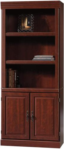 Tall Wooden Bookcase Shelving Cherry Finish Home Office Deco