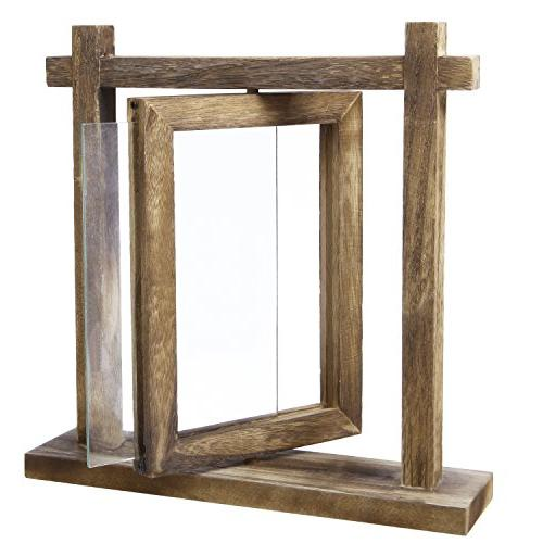 MyGift Torched Wood Tabletop Double-Sided 6 Picture Frame Holder