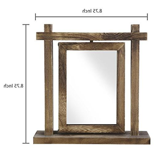 MyGift Torched Wood Double-Sided Swivel 6 Picture Frame Photo Holder