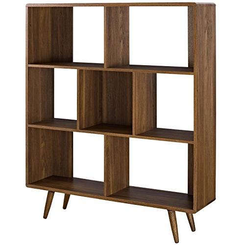 Modway Mid-Century Offset Cube Wood Bookcase Walnut