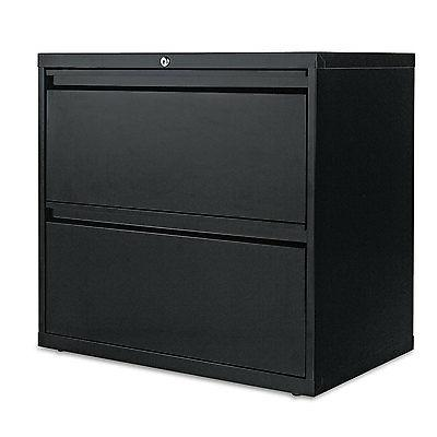 -- Two-Drawer Lateral File Cabinet, 30w x 19-1/4d x 29h, Bla