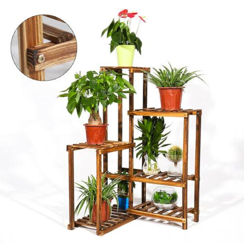 US Anti-insect Wood Stand Flower Pot Shelf Room Office
