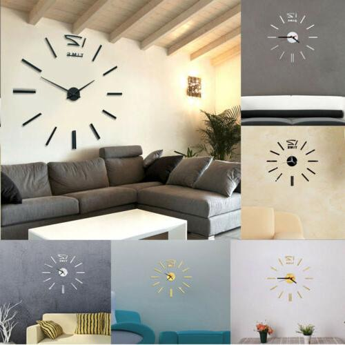US Wall Clock Modern 3D Surface Room DIY Decor