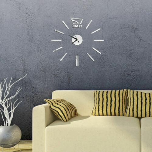 US Wall Clock Sticker Modern Large Surface Office Room DIY Decor