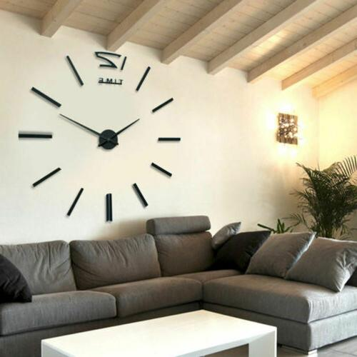 US Clock Modern Large 3D Mirror Surface Home Room DIY