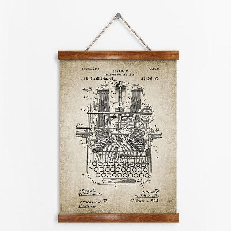 Vintage Design <font><b>Office</b></font> Wall Art Pictures <font><b>Decor</b></font> Typewriting Vintage Painting
