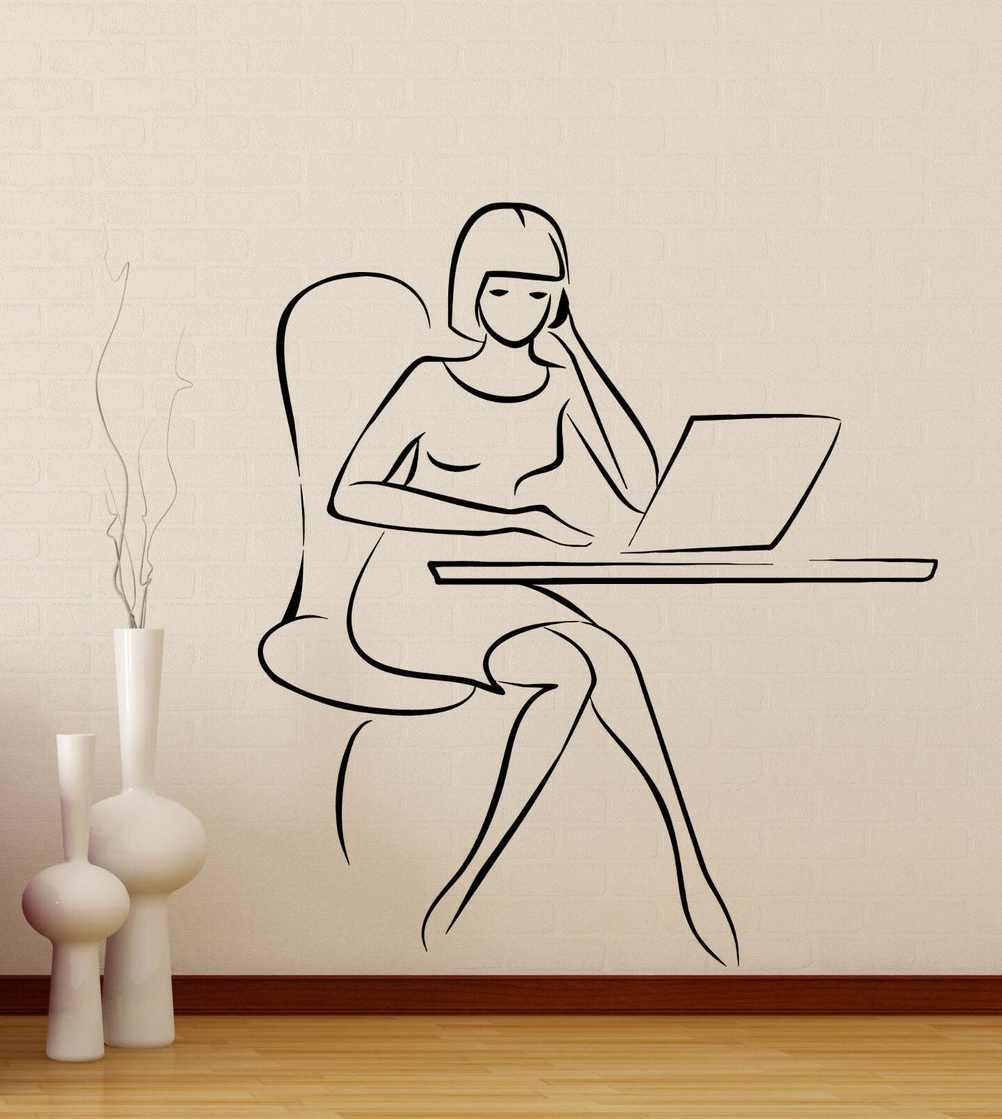 wall vinyl decal office worker girl working