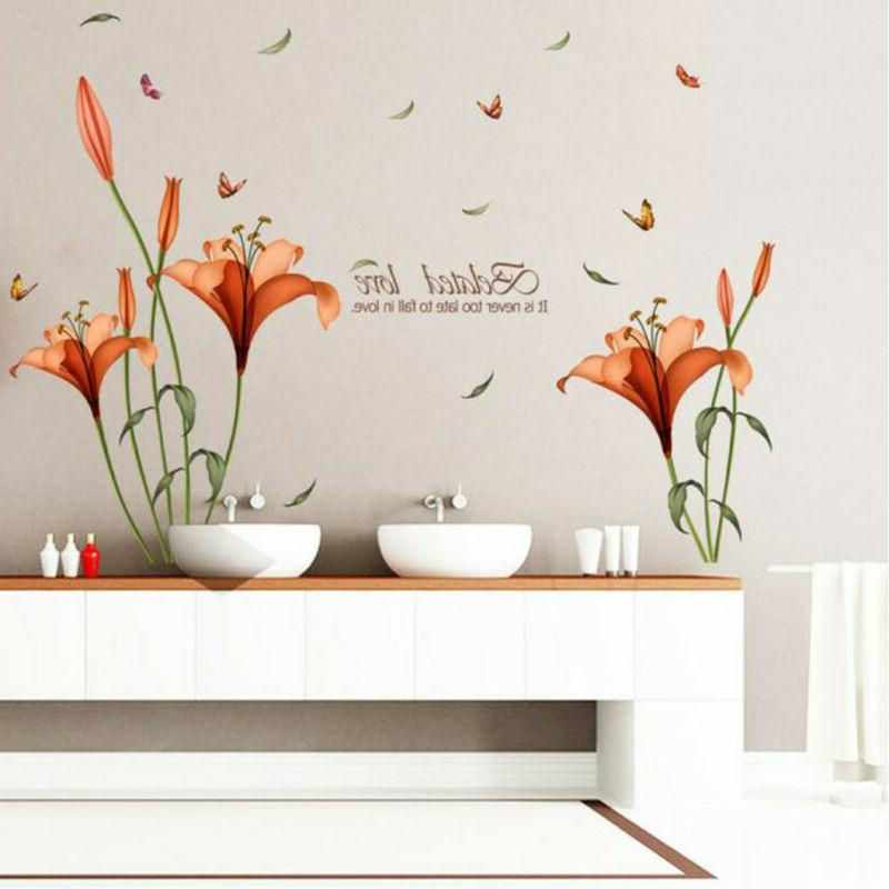 waterproof flower sticker home decor room office