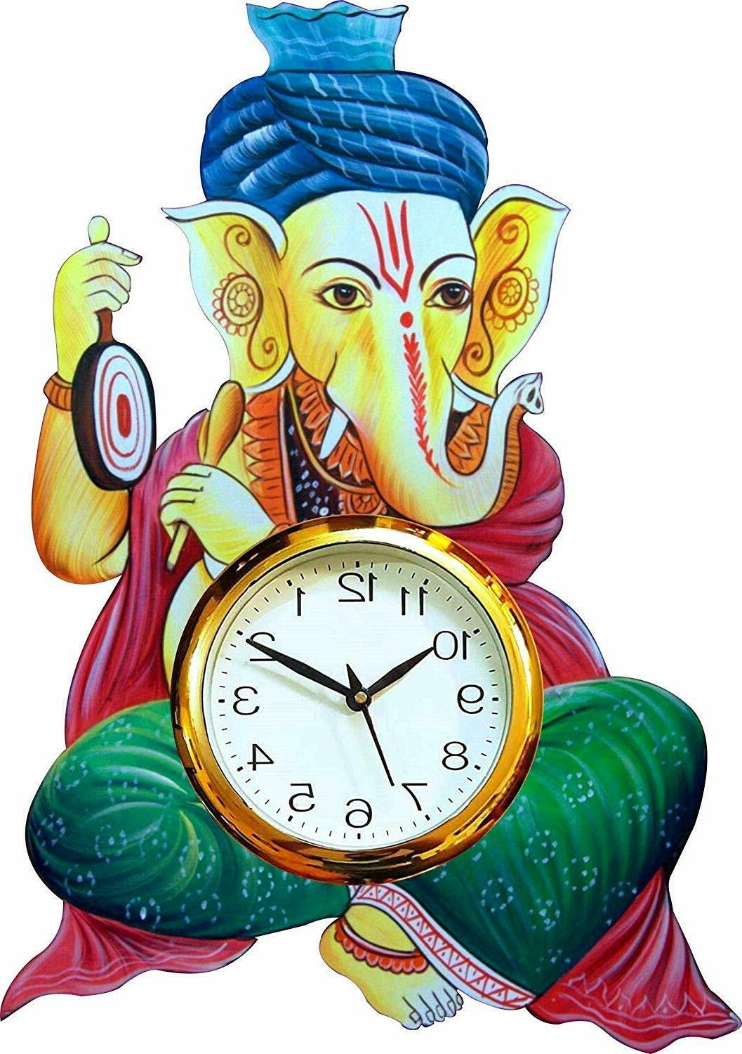 Wood Wall Clock Ethnic Ganesha Religious Analog Clock Home O
