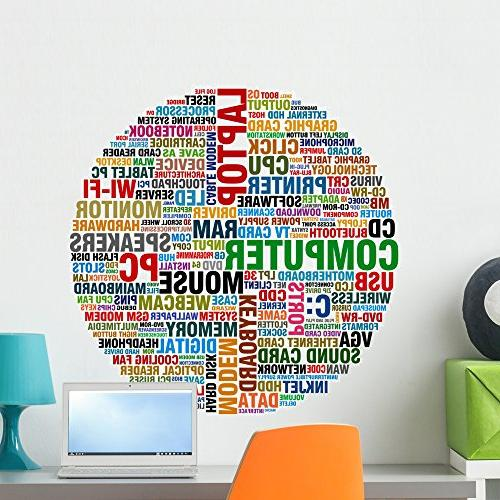 word collage computer wall decal