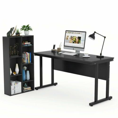 Writing Desk Study Workstation Table with Separated Bookshel