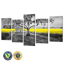 Kreative Arts Yellow Field in Black and White Nature Wall Ar