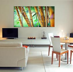 Large Bamboo Canvas Wall Art Print Home Office Decor Framed