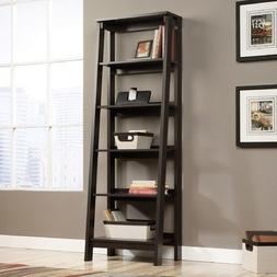 """71"""" Leaning Bookcase with 5 Tier Shelves-Jamocha Wood"""